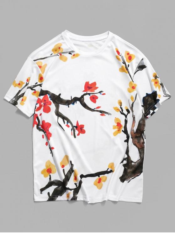 Lässiges T-Shirt mit Kurzen Ärmeln und Blumendruck - Weiß 3XL