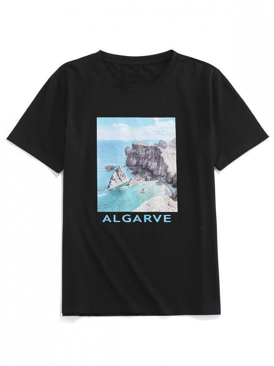 ZAFUL Scenic Letter Printed Short Sleeves T-shirt - أسود 2XL