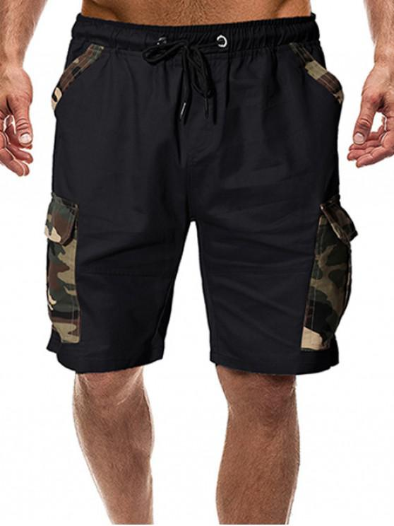 women Camouflage Print Flap Pockets Drawstring Shorts - BLACK S