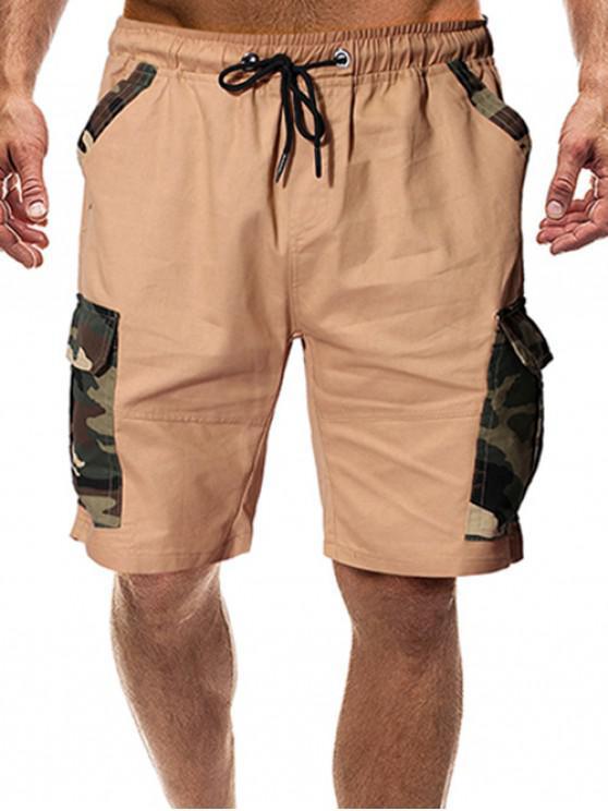 Shorts de Camuflaje con Bolsillos con Solapa con Estampado - Caqui XL