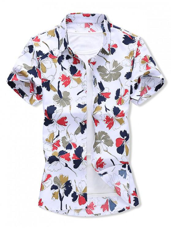 ladies Leaf Allover Print Button Vacation Shirt - WHITE XL