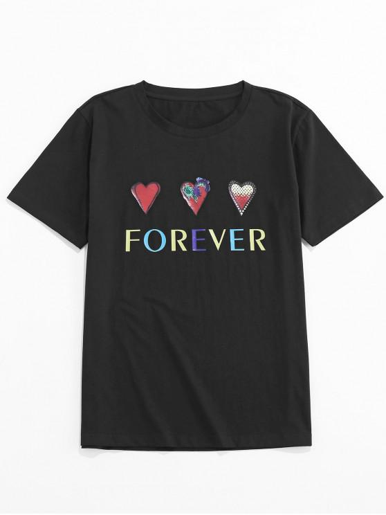 shops ZAFUL Heart Letter Printed Short Sleeves T-shirt - BLACK XL