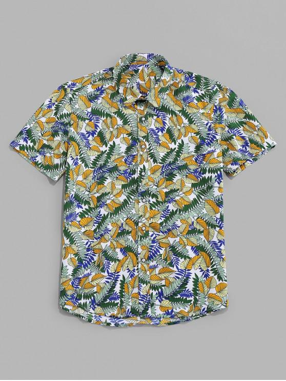 outfit Tropical Leaf Allover Print Vacation Shirt - MULTI 3XL