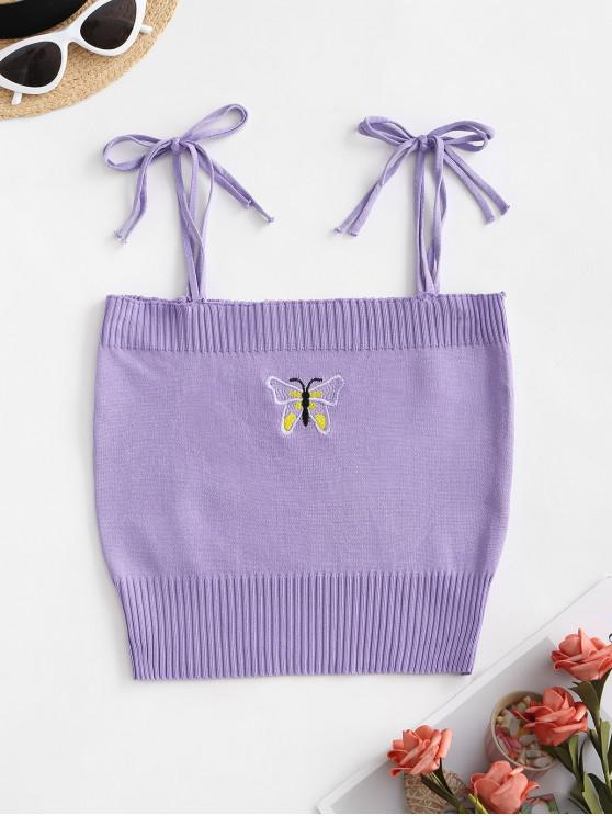 chic Butterfly Embroidered Tie Strap Knit Cami Top - PURPLE ONE SIZE