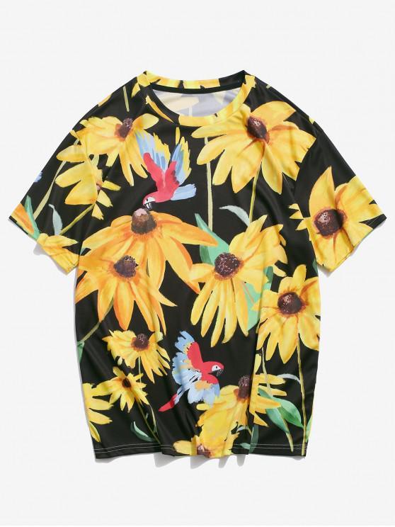 Lässiges T-Shirt mit Kurzen Ärmeln und Blumendruck - Sonne Gelb XL