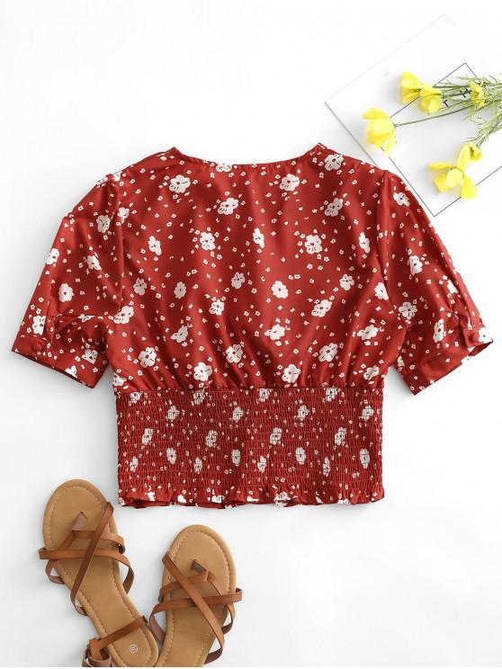 Tiny Floral Print Shirred Waist Crop Blouse - Red M   ZAFUL