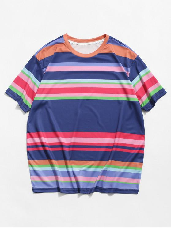 T-shirt Rayé Coloré Imprimé à Manches Courtes - Ardoise bleue foncée 2XL