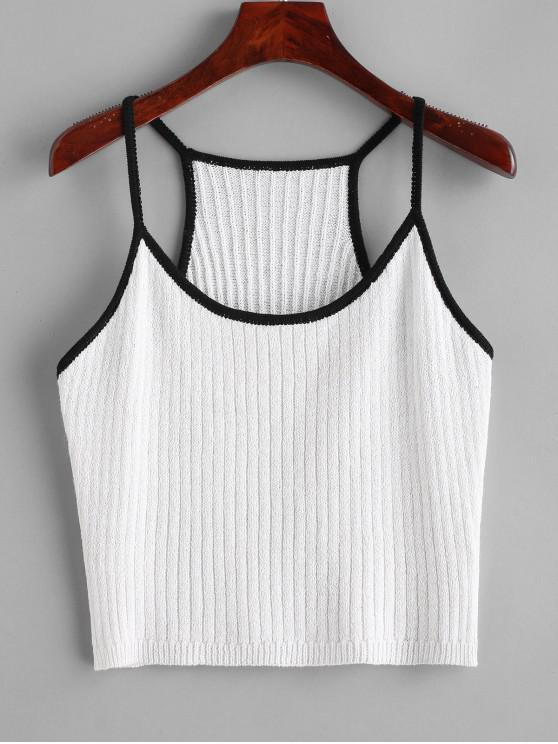 ladies Knitted Racerback Ringer Cami Top - WHITE ONE SIZE