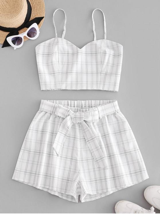 shops ZAFUL Plaid Belted Smocked Shorts Set - WHITE S