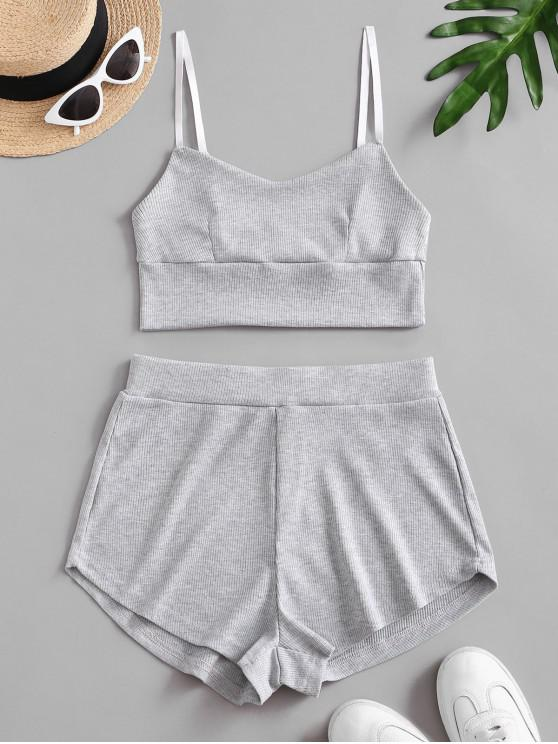 affordable Two Piece Ribbed Bralette Top Set - GRAY CLOUD S