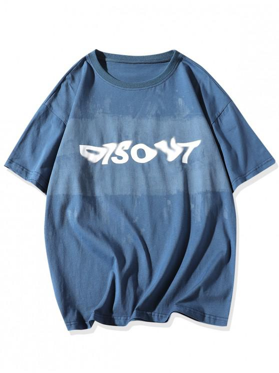 outfits Painting Letter Print Basic T-shirt - BLUE 2XL