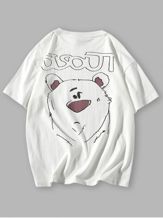 new Cartoon Animal Drawing Letter Print Basic T-shirt - WHITE 3XL