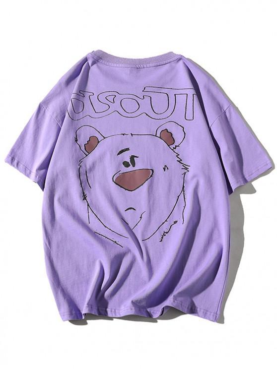 Camiseta Básica con Estampado de Letras y Dibujo Animado - Púrpura M