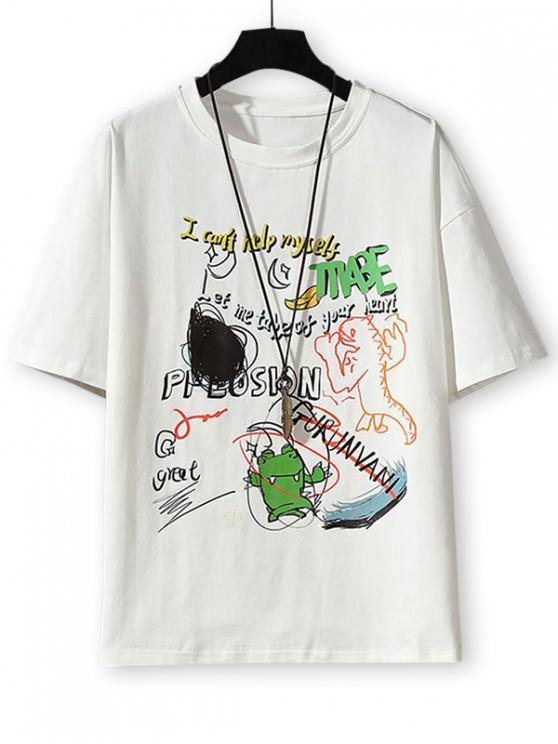 sale Cartoon Animal Letter Graphic Basic T-shirt - WHITE 3XL