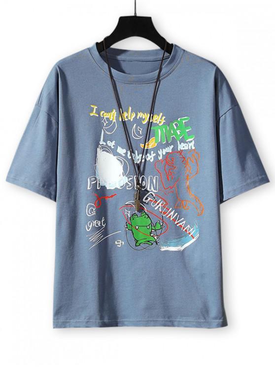 shops Cartoon Animal Letter Graphic Basic T-shirt - DENIM BLUE 3XL