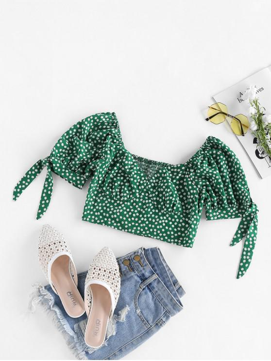 buy ZAFUL Ditsy Print Tie Cuffs Smocked Crop Bustier Blouse - GREEN M