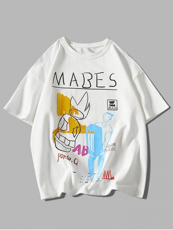 sale Cartoon Graphic Pattern Basic T Shirt - WHITE 3XL
