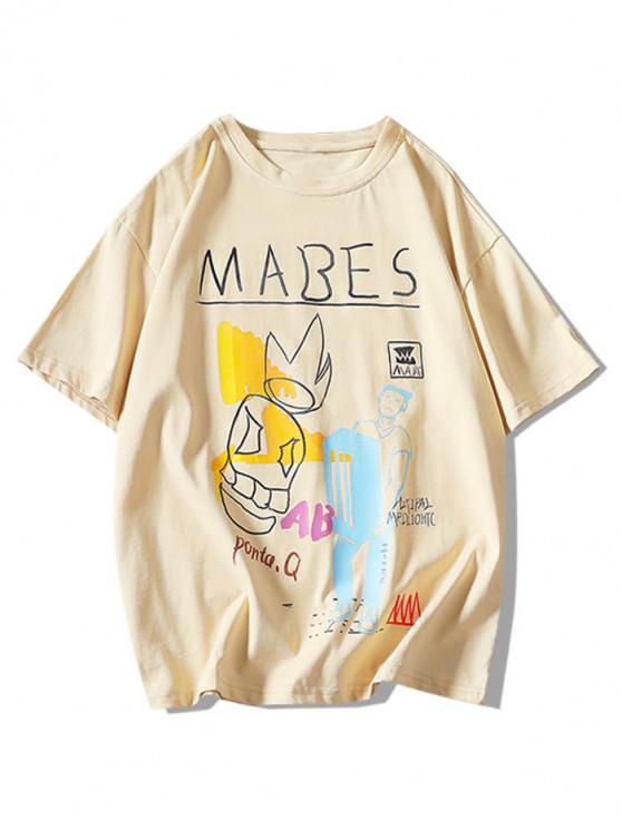 shops Cartoon Graphic Pattern Basic T Shirt - KHAKI 3XL