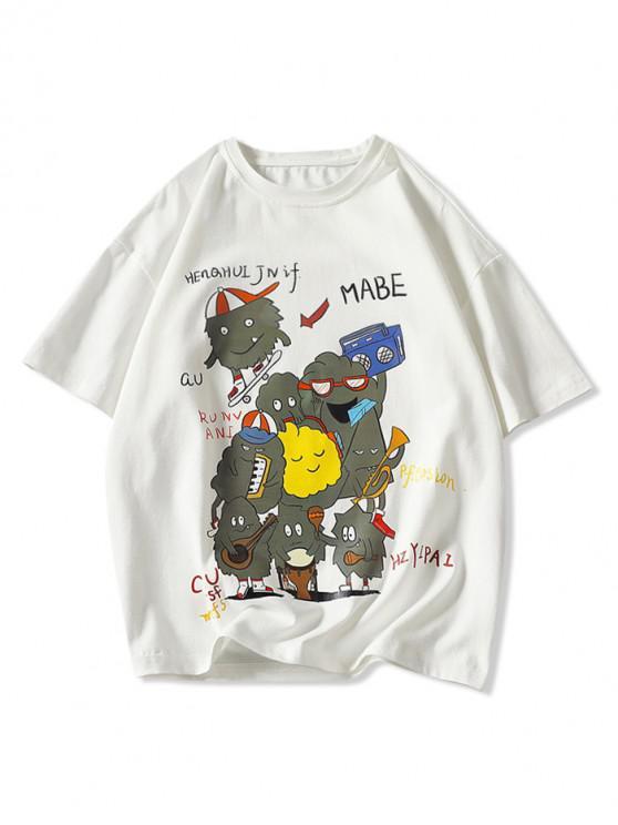 best Playing Music Cartoon Print Basic T-shirt - WHITE 3XL