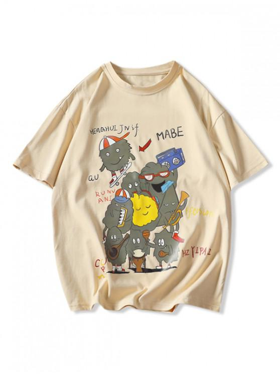 affordable Playing Music Cartoon Print Basic T-shirt - KHAKI 3XL