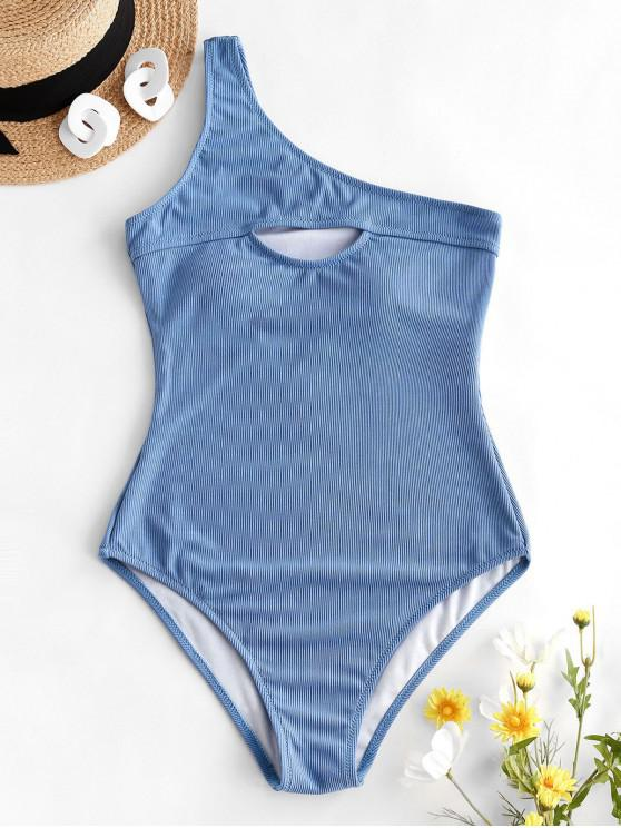 latest ZAFUL Ribbed Cutout One Shoulder One-piece Swimsuit - SILK BLUE S