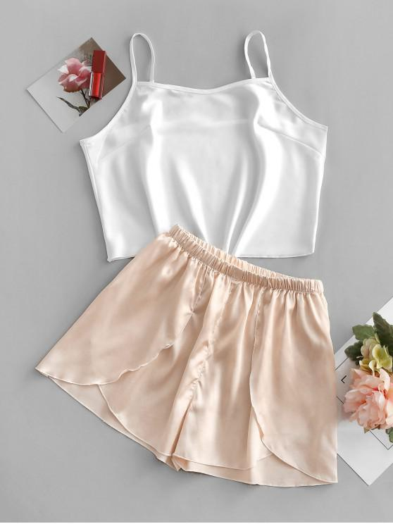 Colorblock Tulip Hem Pijama Scurtmetraje Set - Caisă S