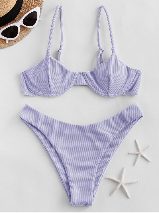 ladies ZAFUL Ribbed Underwire Solid Bikini Swimsuit - LAVENDER BLUE L