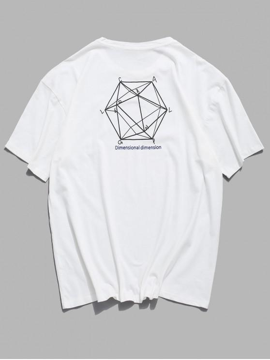 shop Dimensional Graphic Print Basic T-shirt - WHITE 2XL