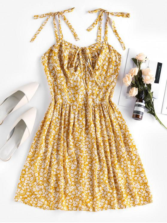 new Tie Strap Smocked Back Floral Print Cami Dress - BEE YELLOW XL