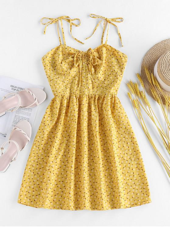 ZAFUL Ditsy Print Tie Cinched Smocked Sundress - صن اصفر L