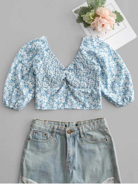 Tiny Floral Print Shirred Crop Top - أزرق L