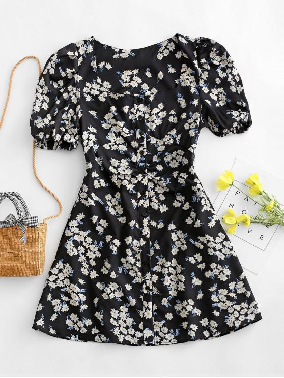women Floral Print Puff Sleeve Button Through Dress - BLACK M
