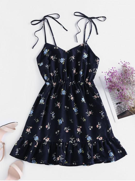 latest ZAFUL Ditsy Print Flounce Tie Sundress - CADETBLUE S