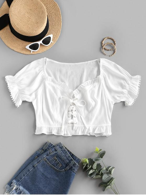 buy Picot Trim Frilled Lace Up Blouse - WHITE M