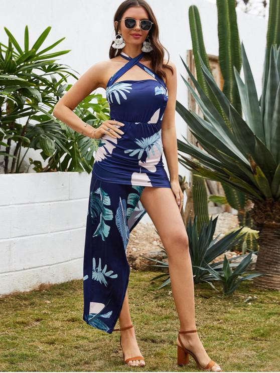 shops Asymmetrical Leaf Print Cross Backless Bodycon Dress - CADETBLUE XL