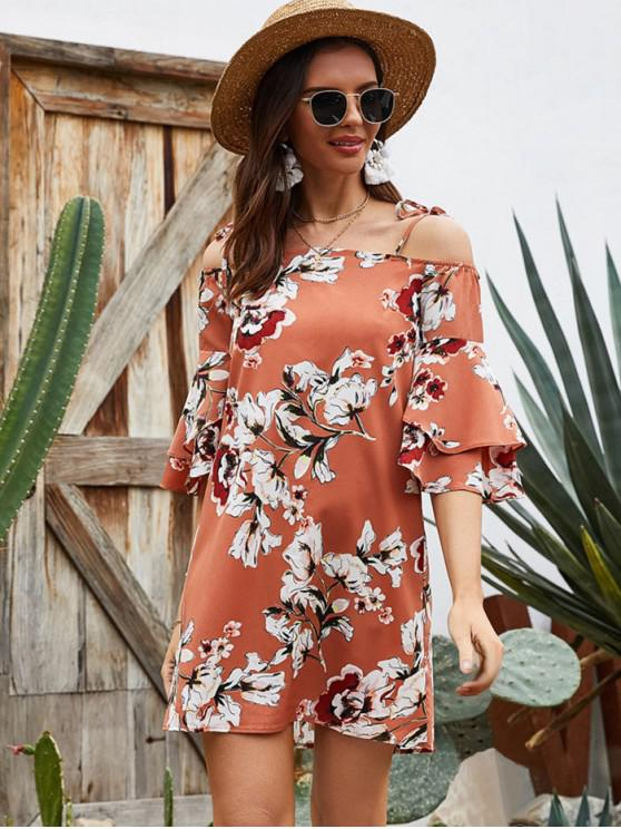 Layered Sleeve Floral Cold Shoulder Tunic Dress - البابايا البرتقال XL