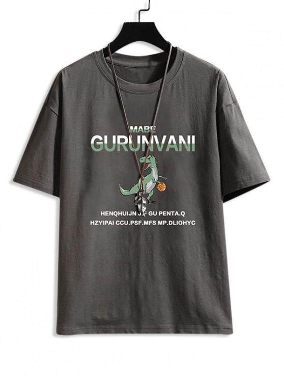 Cartoon Dinosaur Letter Pattern Basic T-shirt - الرمادي الداكن 2XL