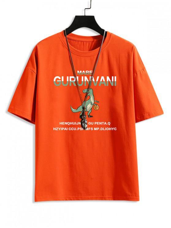 Carta Padrão Dinossauro dos Desenhos Animados T-shirt - Laranja 2XL
