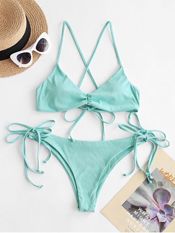 trendy ZAFUL Tie Your Heart Ribbed Bikini Swimwear - BLUE HOSTA S