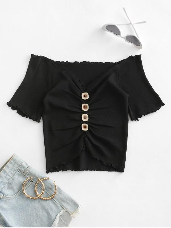ladies Mock Button Ruched Cropped T-shirt - BLACK ONE SIZE