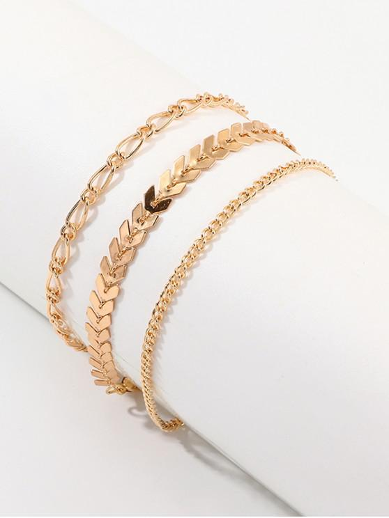 shops 3Pcs Leaves Anklet Set - GOLD