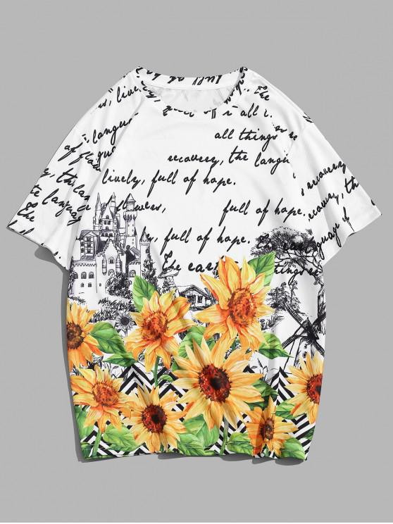 Sunflower Letter Print Crew Neck Short Sleeve Tee - متعدد 3XL