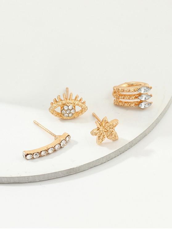 ladies 4Pcs Floral Eye Earrings Set - GOLD