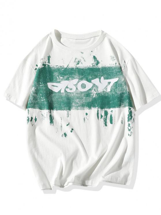 best Painting Letter Print Basic T-shirt - WHITE 3XL