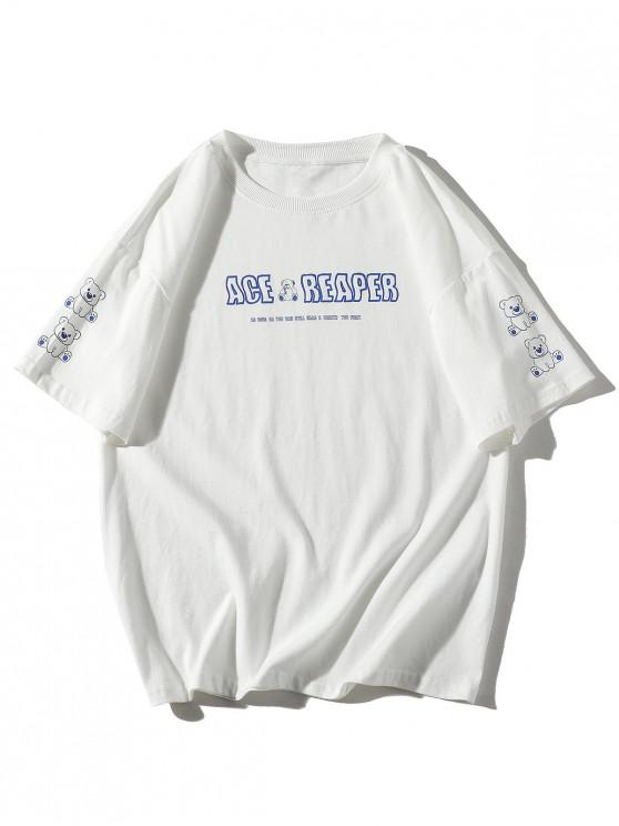 Cartoon Bear Drawing Letter Print Basic T-shirt - أبيض L