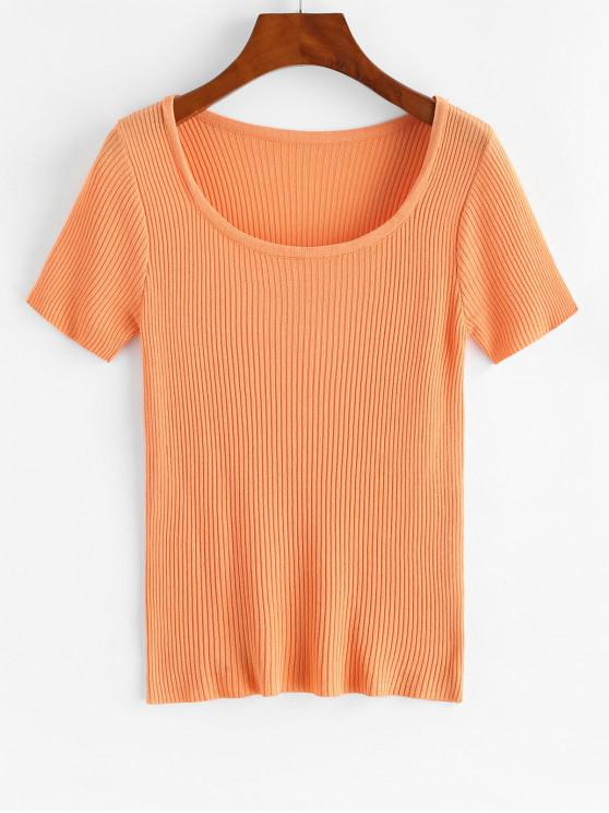 new Ribbed Short Sleeve Slim Knit Tee - TIGER ORANGE ONE SIZE