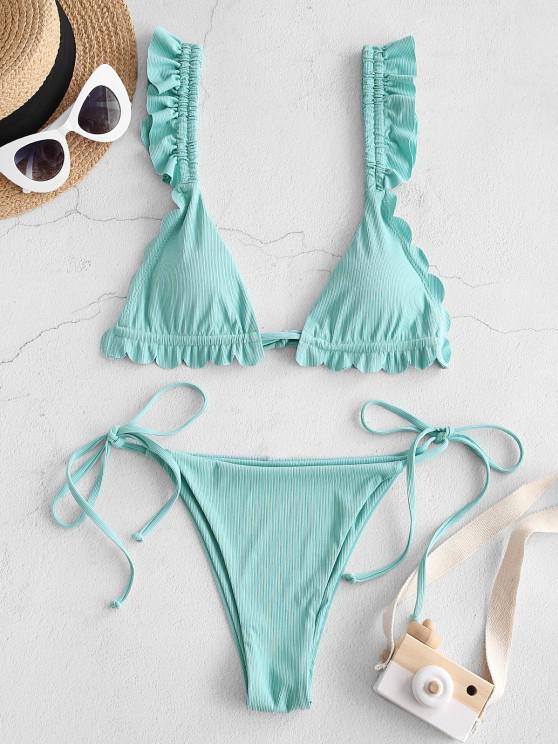 ZAFUL Gerippte Überbackene Gebundene Seitliche Bikini Badebekleidung - Blaue Hosta S