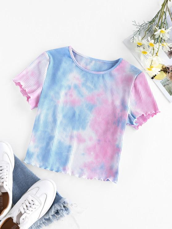 outfits ZAFUL Ribbed Tie Dye Crop T-shirt - MULTI-A S