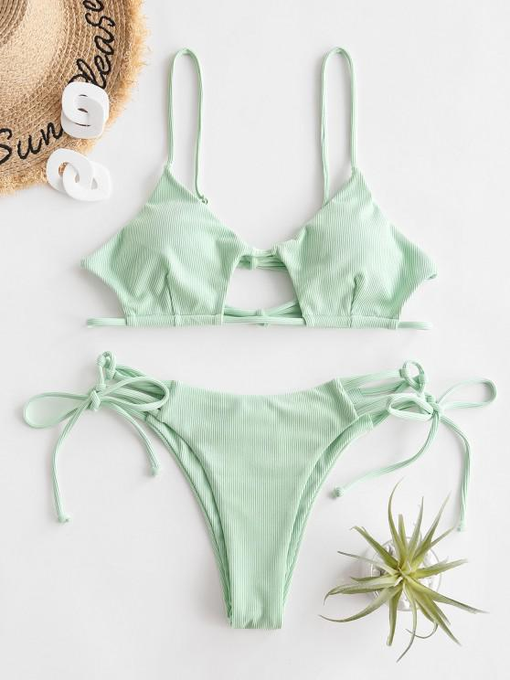 unique ZAFUL Ribbed Lace Up High Leg String Bikini Swimwear - MINT GREEN S