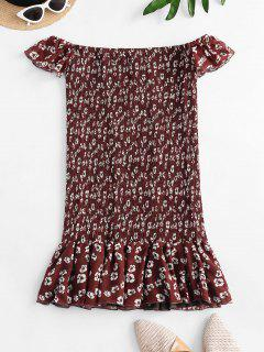 Floral Off Shoulder Smocked Flounce Dress - Red L